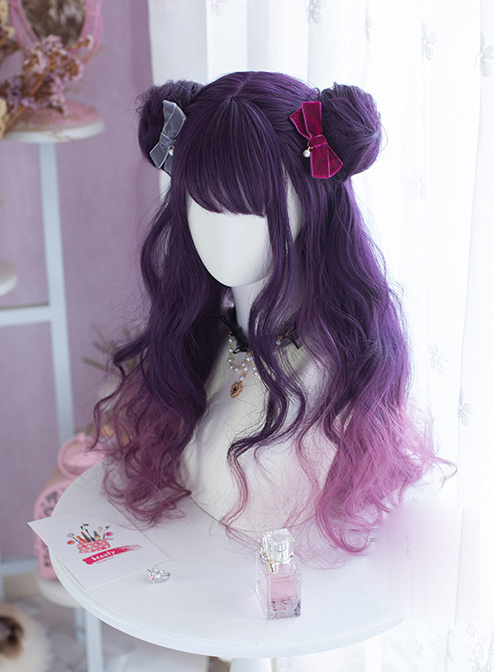 Sailor Moon Luna Dark Purple Gradient Long Curly Wig Sweet Lolita Wigs