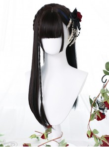 Black Gradient Blue Long Straight Wig Gothic Lolita Wigs