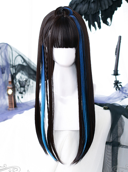 Black Gradient Blue Long Straight Wig Gothic Lolita Wigs