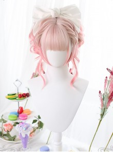 Pink Gradient Dual Horsetail Clips Sweet Lolita Wigs