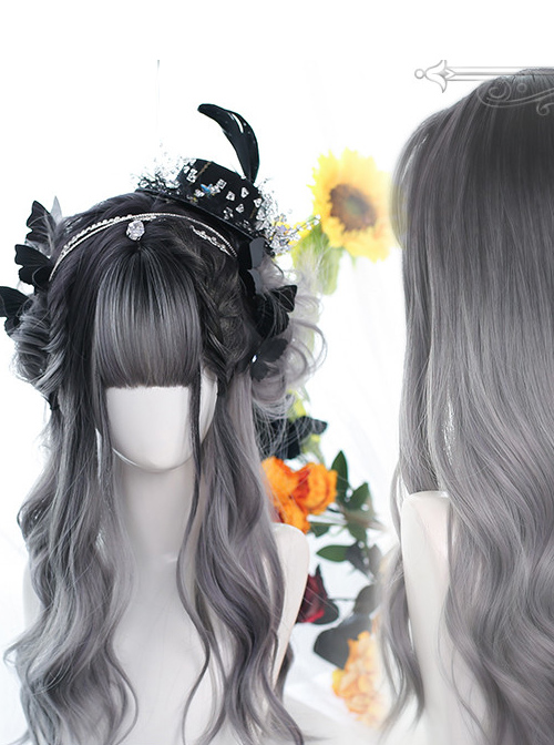 Gentle Topical Staining Long Curly Wig Classic Lolita Gray Wigs