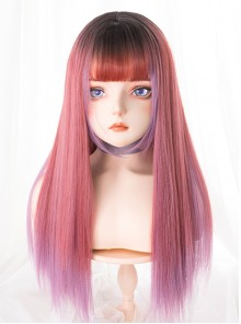 Strawberry Syrup Dark Pink Gradient Long Straight Wig Sweet Lolita Wigs