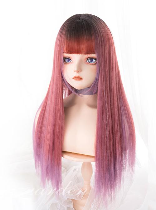 Strawberry Syrup Dark Pink Gradient Long Straight Wig Sweet Lolita Wigs