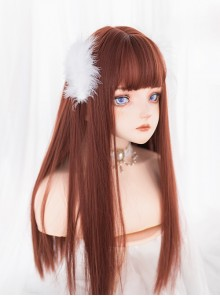 Dark Orange Long Straight Wig Classic Lolita Wigs