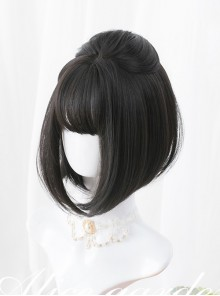 Black Or Brown Bob Haircut Short Straight Wig Sweet Lolita Wigs