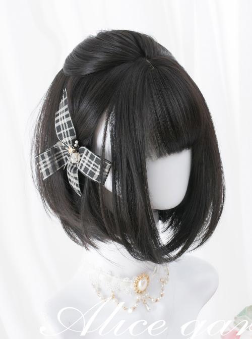 Black Or Brown Bob Haircut Short Straight Wig Sweet Lolita Wigs