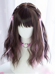 Sweet Cool Girl Dark Brown Pink Medium Length Curly Wig Sweet Lolita Wigs