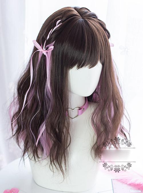 Sweet Cool Girl Dark Brown Pink Medium Length Curly Wig Sweet Lolita Wigs