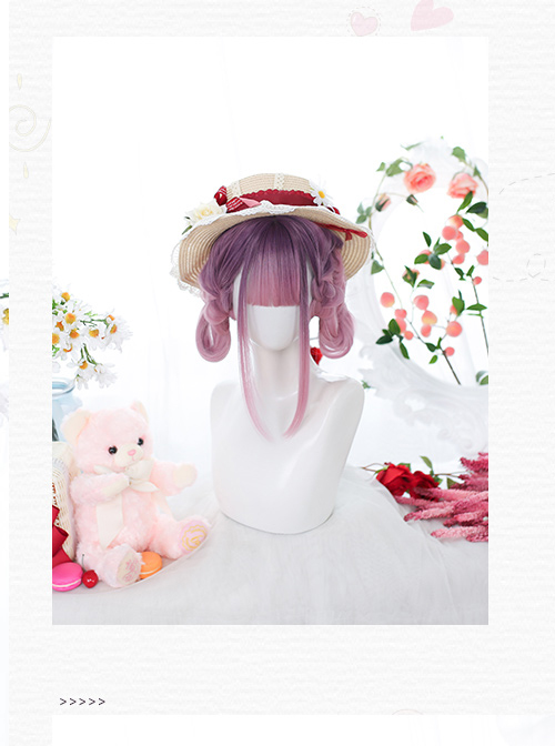 Purple Gradient Natural sideburns Long Straight Wig Sweet Lolita Wigs