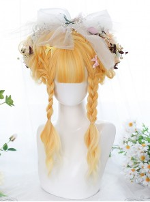Water Ripple Curly Long Curly Wig Sweet Lolita Olive Golden Gradient Wigs