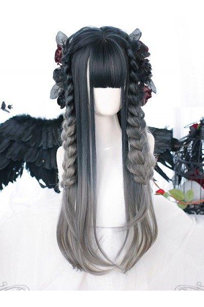 Slightly Curly Classic Lolita Indigo Gray Natural Gradient Long Wigs
