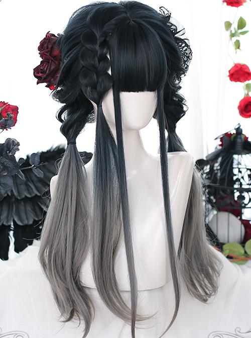 Slightly Curly Classic Lolita Indigo Gray Natural Gradient Long Wigs