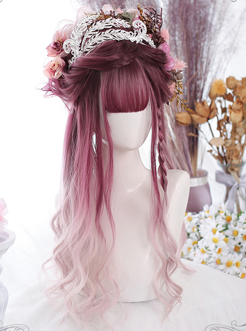 Cranberry Color Gradient Gentle Curly Classic Lolita Long Curly Wigs