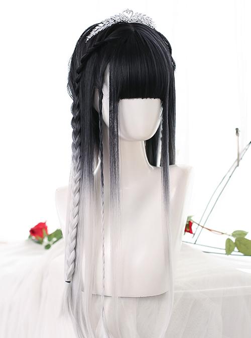 Black White Natural Gradient Classic Lolita Long Straight Wigs