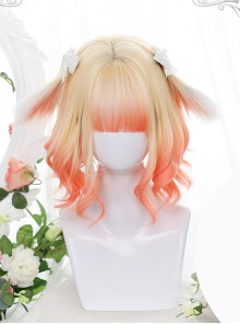 Cute Golden Orange Gradient Sweet Lolita Animal Ears Irregular Slightly Curly Wigs