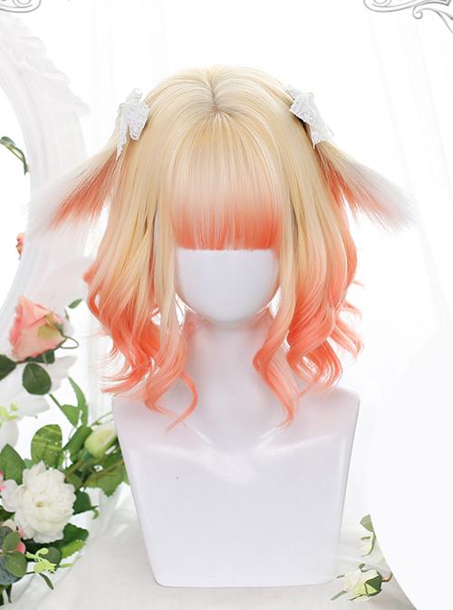 Cute Golden Orange Gradient Sweet Lolita Animal Ears Irregular Slightly Curly Wigs