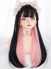 Multicolour Optional Hidden Highlights Long Straight Wig Daily Lolita Wigs