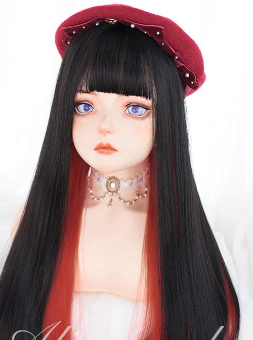 Multicolour Optional Hidden Highlights Long Straight Wig Daily Lolita Wigs
