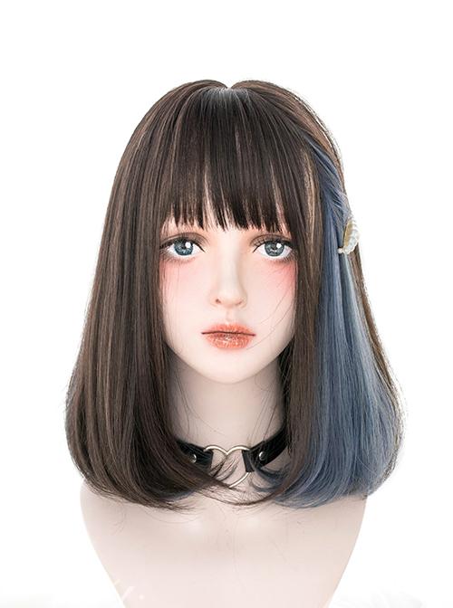 Hidden Highlights Medium Length Straight Wig Daily Lolita Wigs