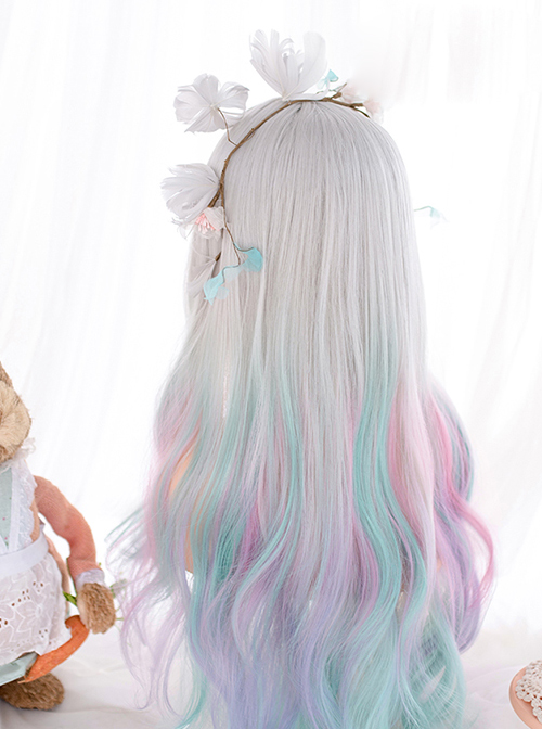 Gradient Macaron Color Sweet Lolita Long Curly Wigs