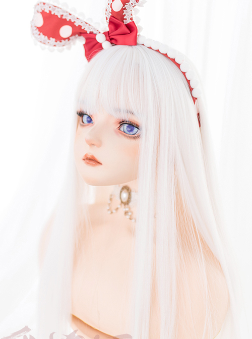 Harajuku White Long Straight Wig Classic Lolita Wigs