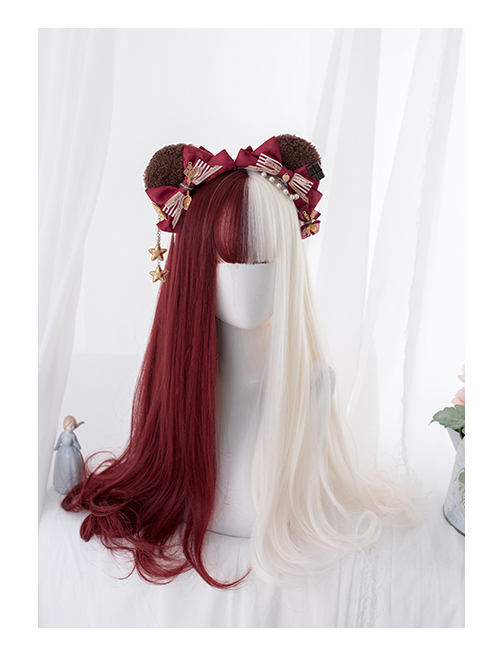 Red And White Color Matching Harajuku Gothic Lolita Long Curly Wigs