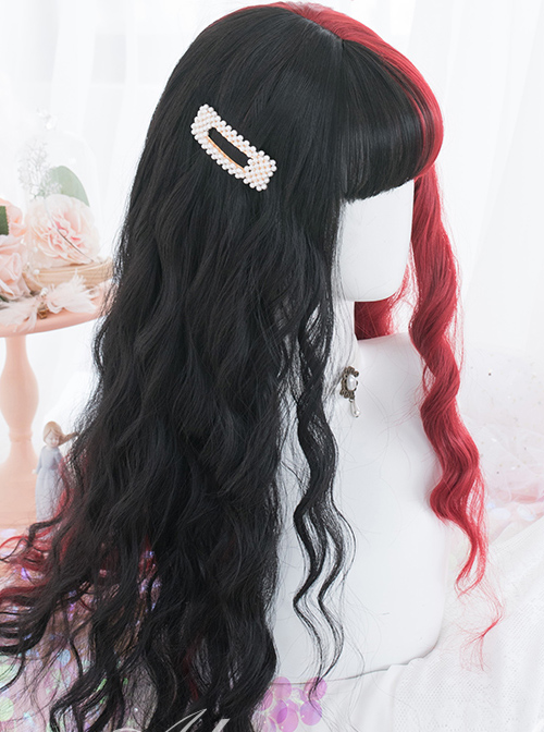 Red And Black Color Matching Harajuku Gothic Lolita Long Curly Wigs