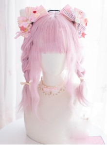 Pink Gradient Medium Length Wig Cute Sweet Lolita Wigs