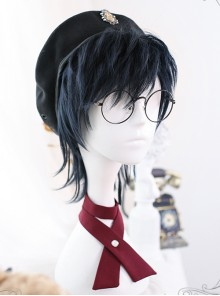 Dark Blue Short Wig Mullet Hairstyle Lolita Male Wigs