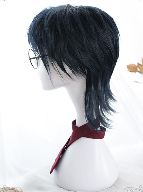 Dark Blue Short Wig Mullet Hairstyle Lolita Male Wigs