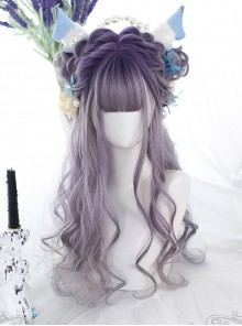Purple Gradient Natural Big Curly Long Wig Classic Lolita Wigs
