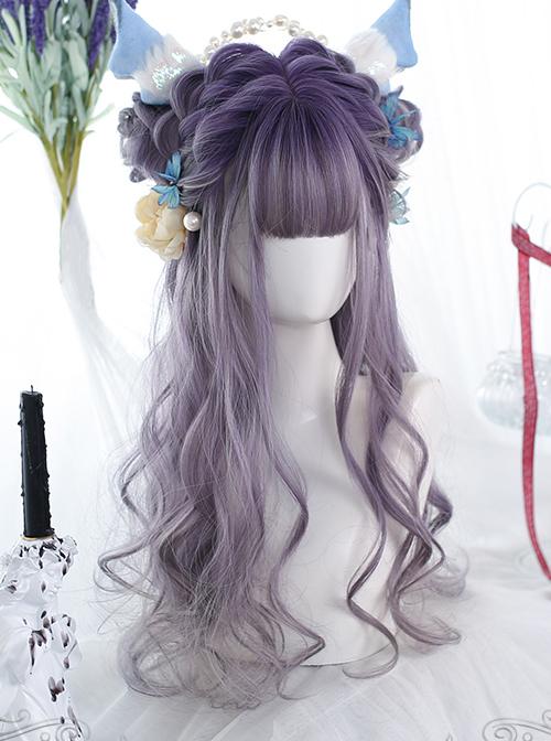 Purple Gradient Natural Big Curly Long Wig Classic Lolita Wigs