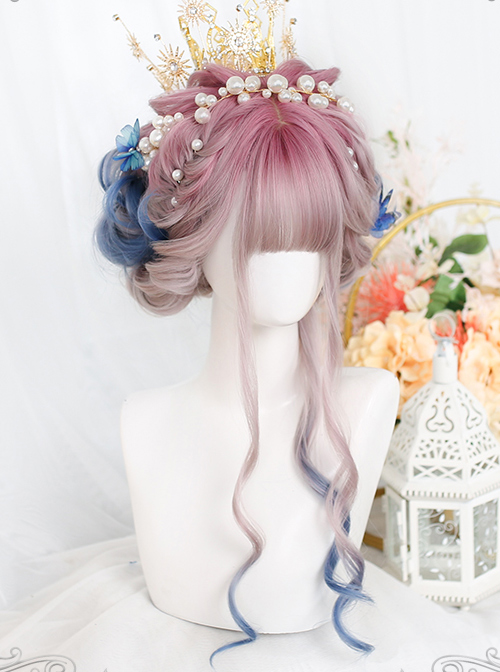 Pink Gradient Blue Long Natural Gentle Curly Wig Classic Lolita Wigs