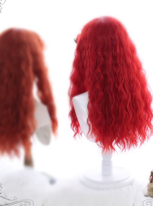 Fluffy Sheep Curly Long Wig Gothic Lolita Red Wigs