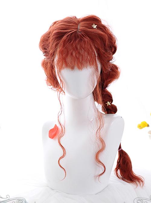 Fluffy Sheep Curly Long Wig Gothic Lolita Orange Wigs