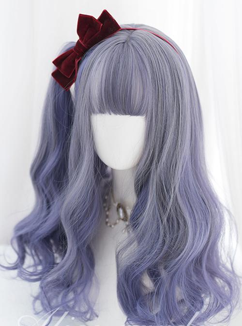 Gray Purple Mixed Gradient Sweet Lolita Long Wigs