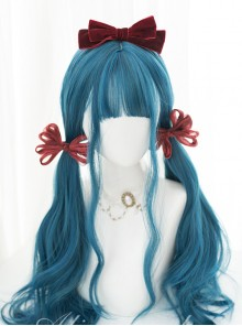 Harajuku Dark Blue Gradient Dark Peacock Green Classic Lolita Long Wigs