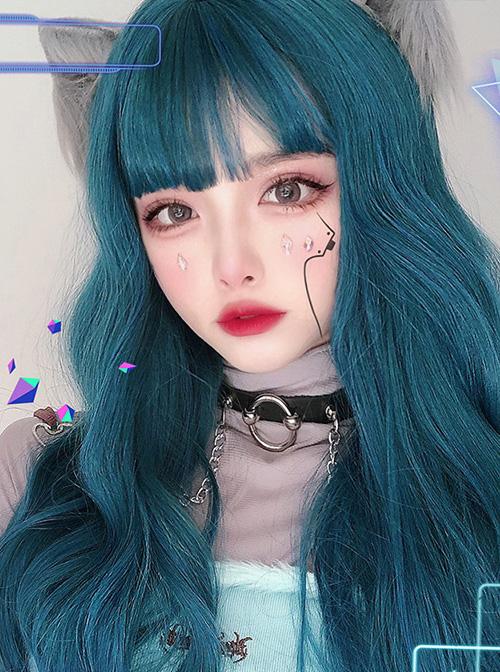 Harajuku Dark Blue Gradient Dark Peacock Green Classic Lolita Long Curly Wigs