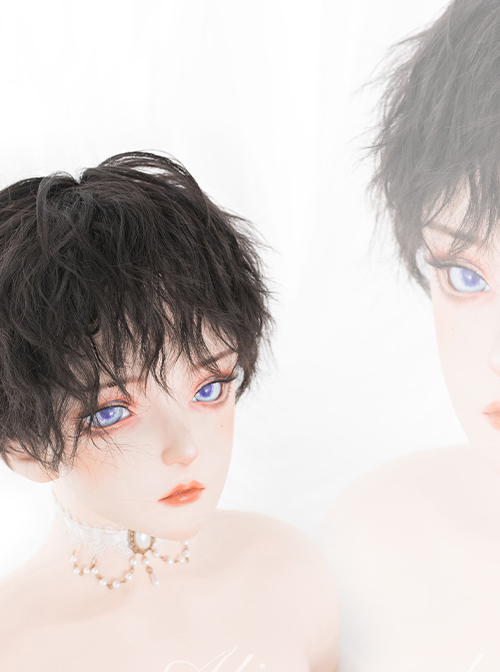 Black Fluffy Cute Boy Lolita Male Short Curly Wigs