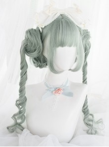 Light Green Short Wig With Long Braid Clips Classic Lolita Wigs