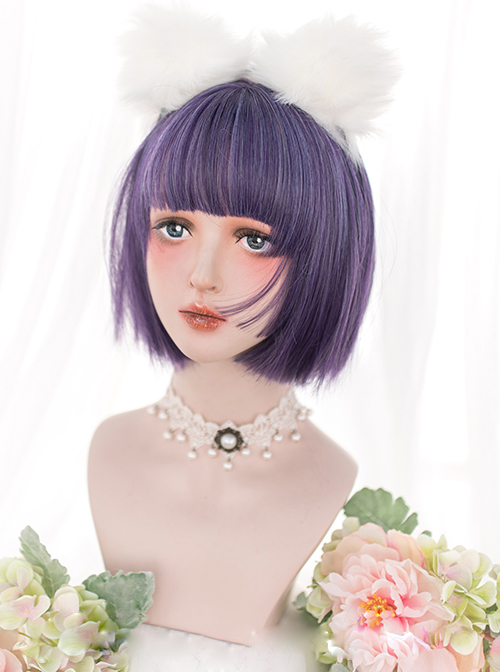 Harajuku Purple Classic Lolita Short Straight Wigs