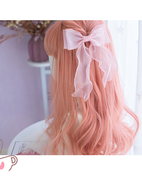 Coral Peach Pink Long Curly Wig Sweet Lolita Wigs