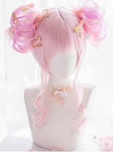 Detachable Double Flower Roll Pink Short Wig Sweet Lolita Wigs