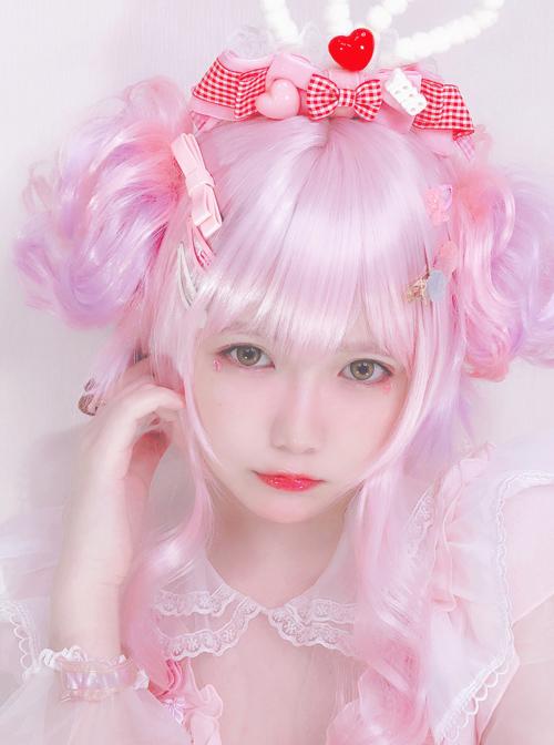 Detachable Double Flower Roll Pink Short Wig Sweet Lolita Wigs