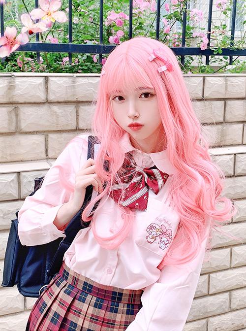 Sakura Coral Pink Long Curly Wig Sweet Lolita Wigs