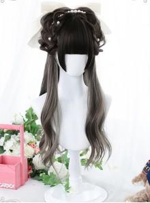 Elegant Dark Gray Long Curly Wig Classic Lolita Wigs