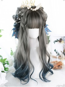 Gray Blue Gradient Long Curly Wig Classic Lolita Wigs