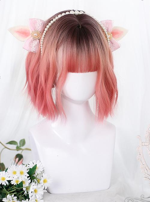 Pink Irregular Slightly Curly Wig Sweet Lolita Short Wigs