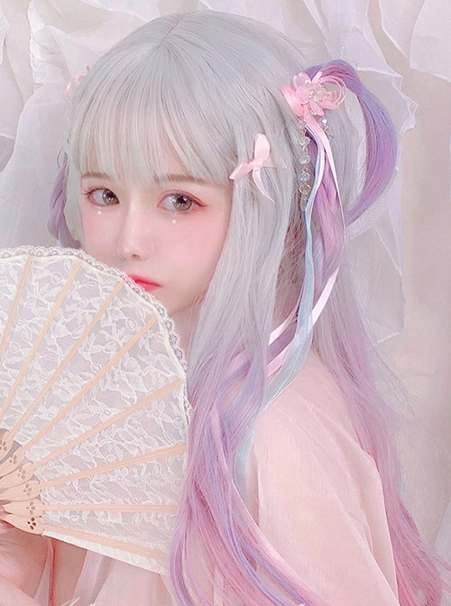 Gray Gradient Green Or Pink Sweet Lolita Long Curly Wigs