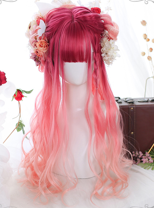 Harajuku Pink Natural Gradient Classic Lolita Long Curly Wigs
